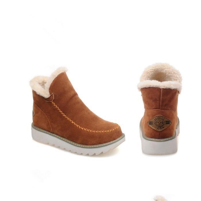 Nouvelles bottines féminines Gommage des bottes de neige chaussures en cuir d'hiver JsZzU