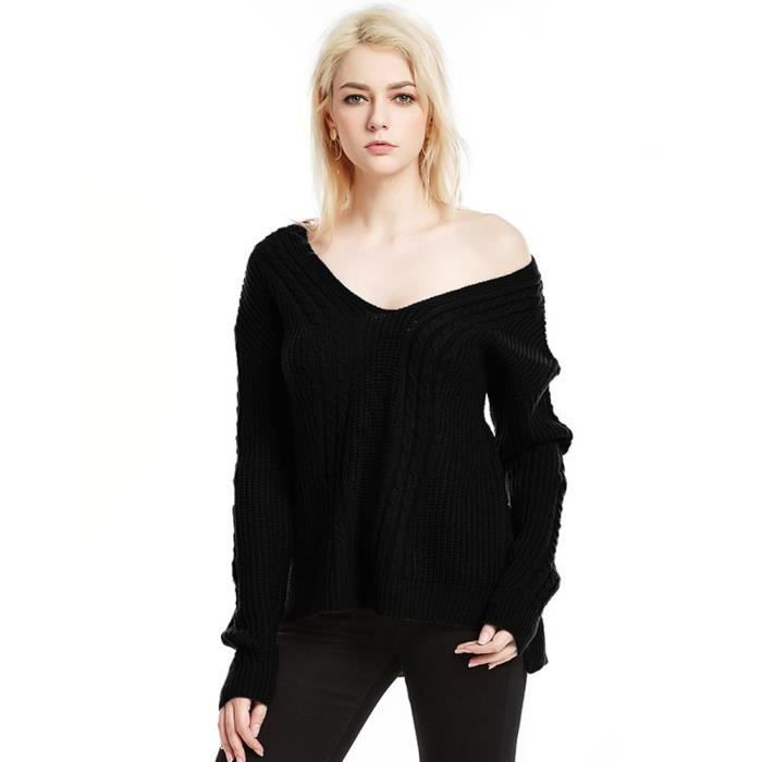 Pull Col V Femme en Maille Automne Hiver Couleur Unie Top Elegant Manches  Longues fbae5b7bf15
