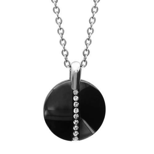 Collier 40 + 5 cm Céramique Noire & Cristal Acier