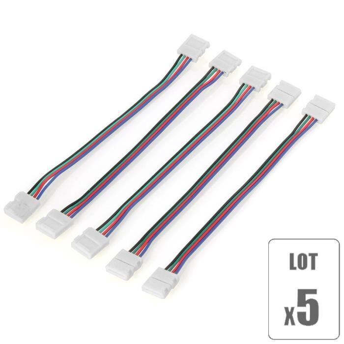 Pack x5 connecteur rallonge ruban led rgb 12v sans soudure - Ruban led 12v ...