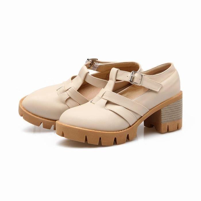 Chaussures Femme Plateforme Ronde En PU Cuir Toutes les pointures de la 35 à la 43