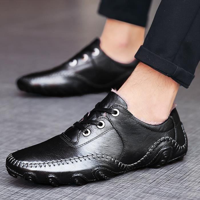 taille7 d'hiver de en Homme lacets Vintage multisport occasionnels chaussures chaud conduite noir d'homme cuir Shoes à qATZ7zw