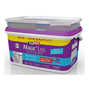 TOUPRET Enduit Magic'Liss 7,2 kg - 6kg +20% - kit compket de lissage incluant 2 outils
