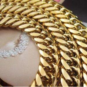 CHAINE DE COU SEULE Collier Homme 123g lourd réel or jaune 18 carats R