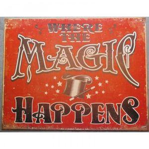 OBJET DÉCORATION MURALE plaque magic happend affiche tole magie deco chamb