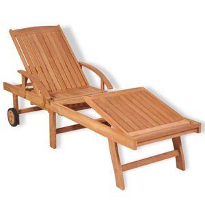 chaise longue teck soldes