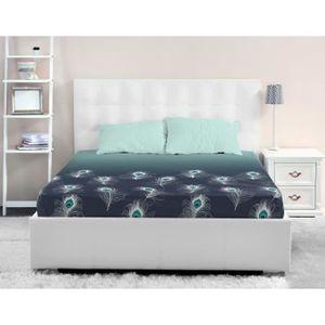 DRAP HOUSSE LOVELY HOME Drap Housse 100% coton PEACOCK 140x190