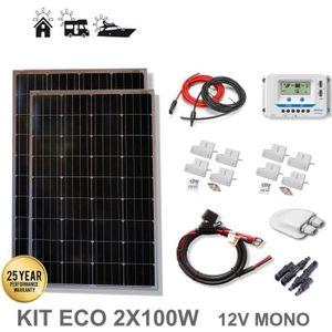 LIVRE BRICOLAGE Kit 200W ECO 12V panneau solaire 2X100W monocrista