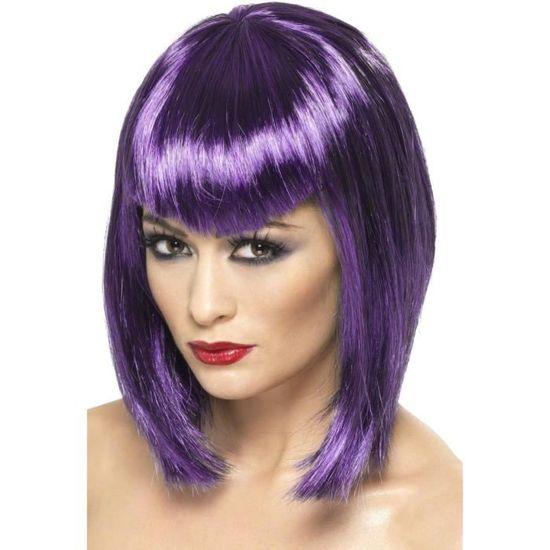 Perruque femme carré violet avec frange horreur