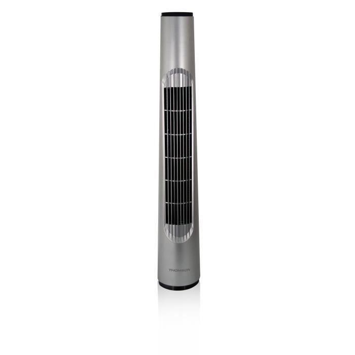 THOMSON Ventilateur colonne - hauteur 80 cm - 3 vitesses - Oscillant sur angle - Rangement du câble dans la base - Gris