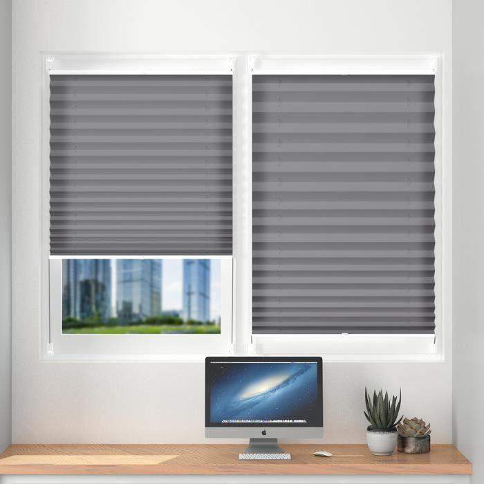 Store pliss gris 35 x 130 cm pour fen tre rideau pliss - Store pour fenetre cuisine ...