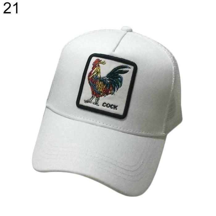 le plus populaire rechercher l'original qualité supérieure Animal Brodé Casquette De Baseball Snapback Hommes Femmes En Plein Air Hip  Hop Chapeau De Soleil Coq Blanc J0595B