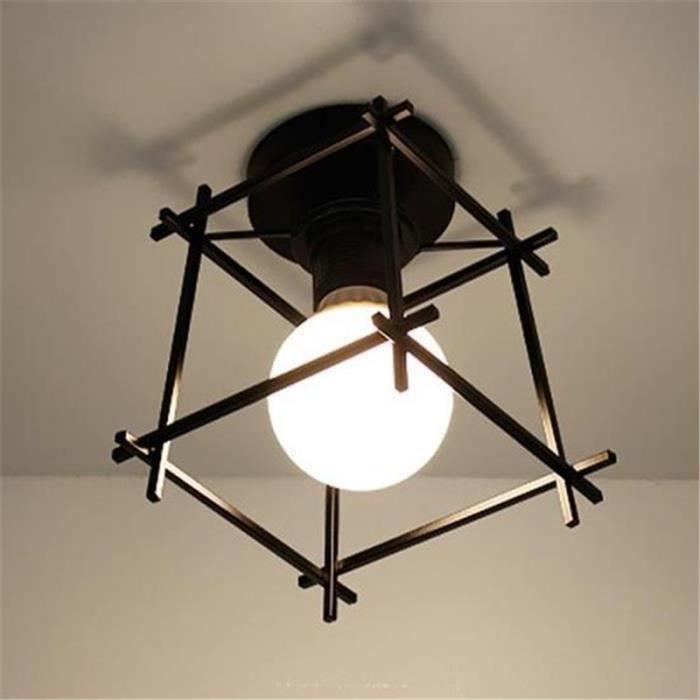 Plafonnier Industrielle Cage Lustre Lampe De Plafond En Metal Noir