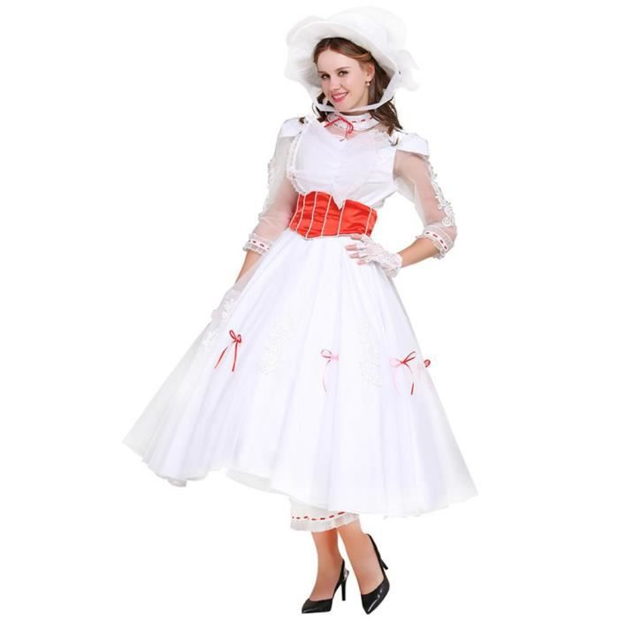 d guisement mary poppins robe costume cosplay blanche. Black Bedroom Furniture Sets. Home Design Ideas