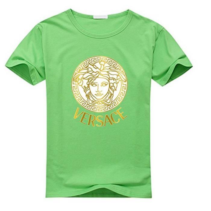 ed0e00528c53 Versace T-shirt en coton à manches courtes pour homme (vert) vert ...