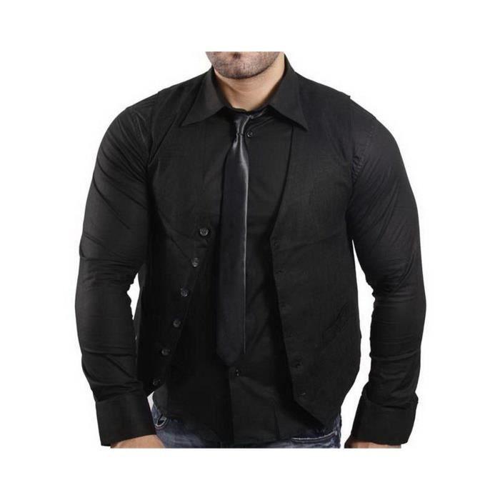 Subliminal Mode Gilet Noir Chemise Cravate Homme 11 Couleurs