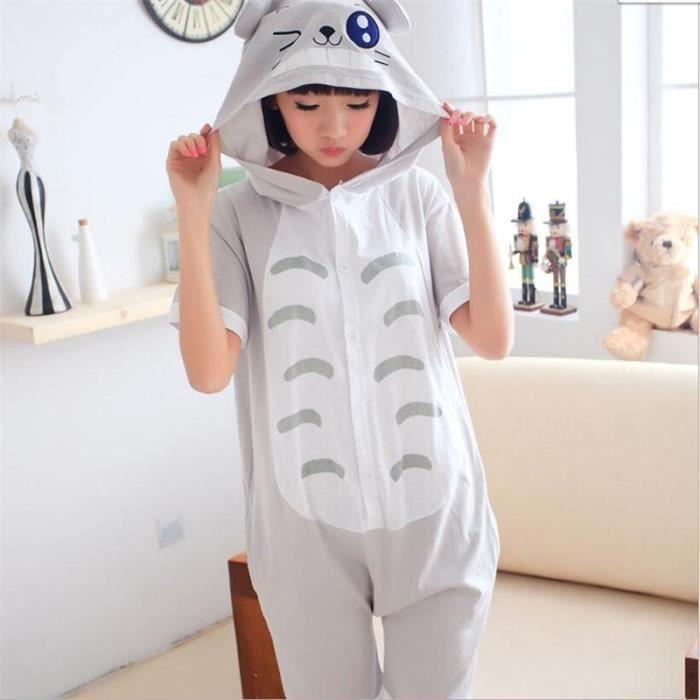 cdb4475be0aba pyjama chinchilla été dessin animé tenue d'intérieur pour les enfant Manche  courte gris Confortable Hiver Classique mignonne