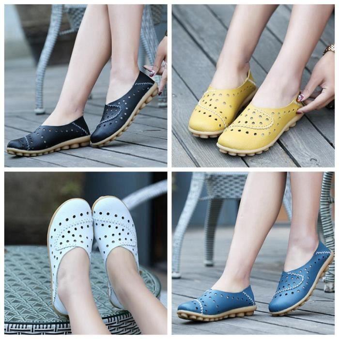 Mocassins Femme Cuir Loafers Casual Bateau Chaussures de Ville Flats