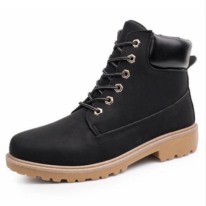 Martin Bottines Homme En Cuir Haute Qualité Boots GD-XZ020Noir46