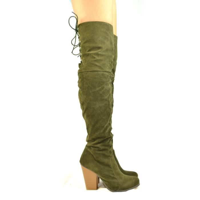 Max-2 Chunky Block Heel With Partial Side Zipper And Back Lace-up Tall Boot FI4C9 Taille-40