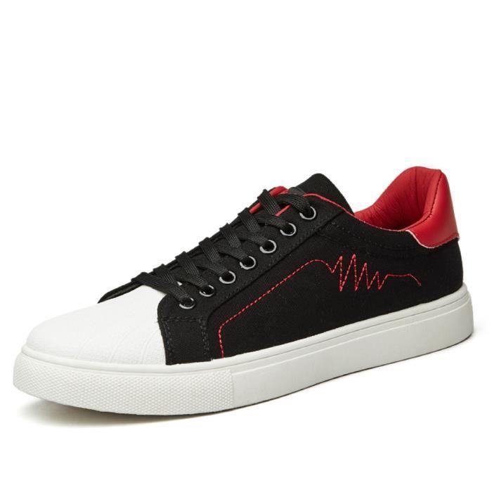 de Noir Rouge Chaussures Chaussures Homme respirantes BASKET Toile skate décontractées dqzaxHz