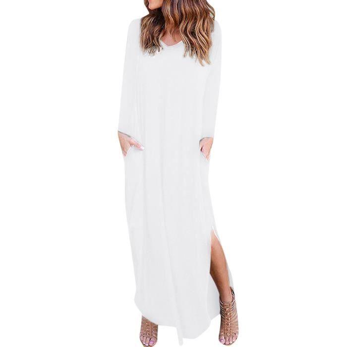 b40afc35227 Robe longue à manches longues pour femmes Robe de soirée longue à manches  longues pour femmes blanc