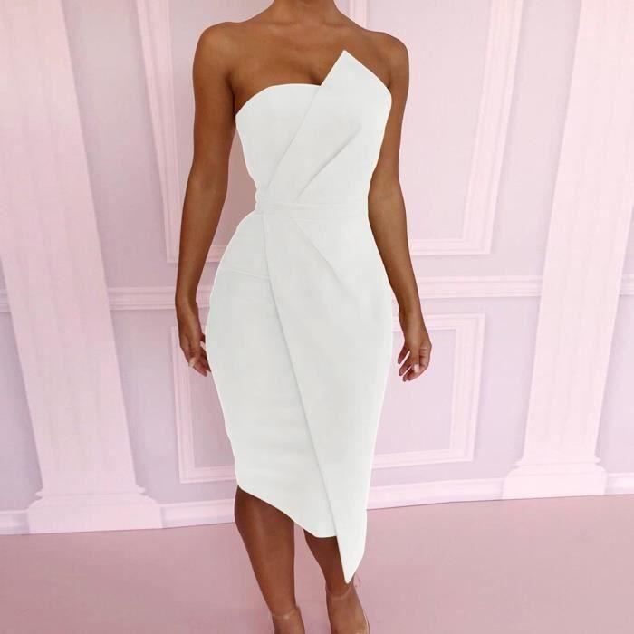 Épaule Off Femme Sexy Mode Blanc Avant De Robe Soirée Asymétrique q3LcA54Rj
