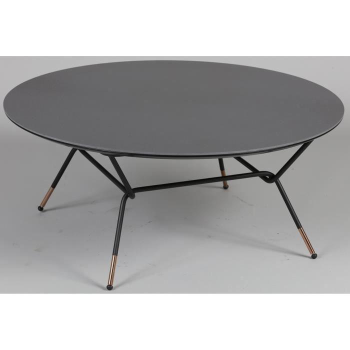 Table Basse Ronde En Acier Et Mdf Coloris Anthracite Dim L85 X L85 X Ht 36 Cm