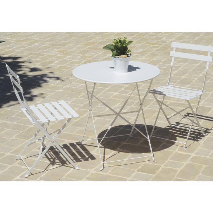 Table de jardin pliante carrée coloris blanc (chaises non ...