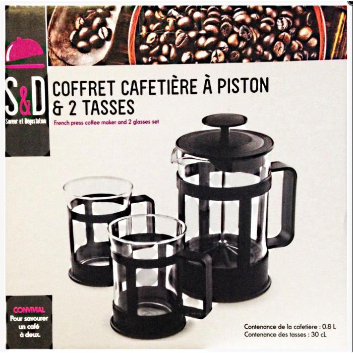 COFFRET CAFETIERE A PISTON 0.8 L + 2 TASSES CUISINE - Achat ...