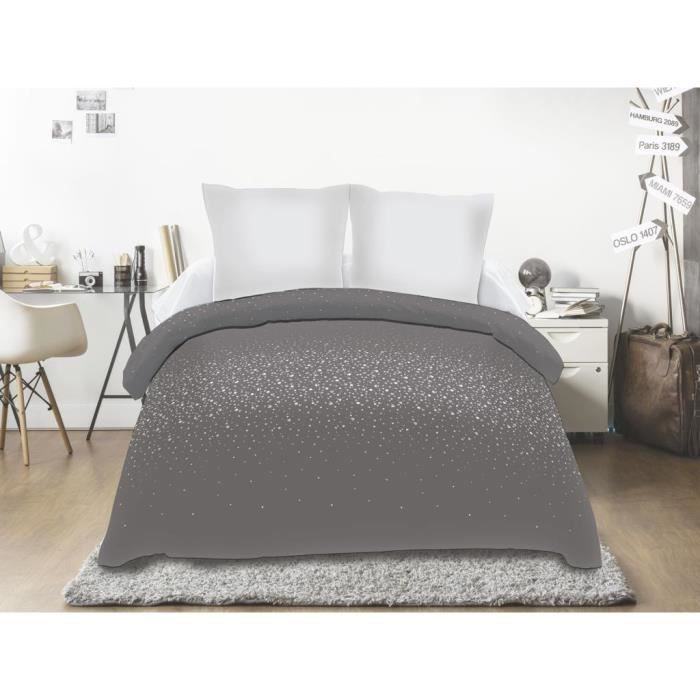 Couette Imprimee 220x240 Strass Anthracite Gris Achat Vente