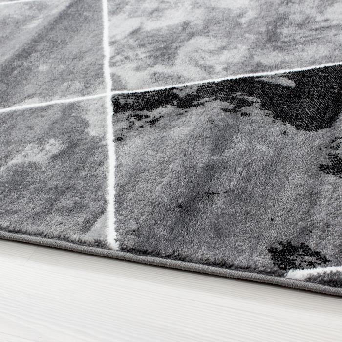 Tapis Salon Design Moderne Tapis Noir A Carreaux A Poil Court