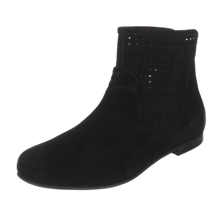 Chaussures femmes Bottine PERFORATED cuir bottes noir 4Hb4OcSf9w