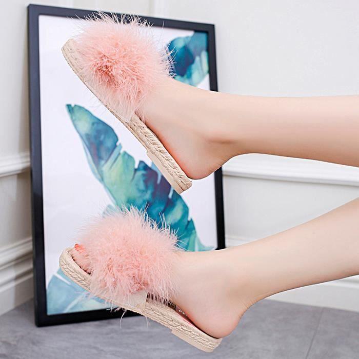 De Hairball Slipper Mode Plage Extérieur Talon Femmes Chaussures Rose Plat Sandales Intérieur pz5w54xqU