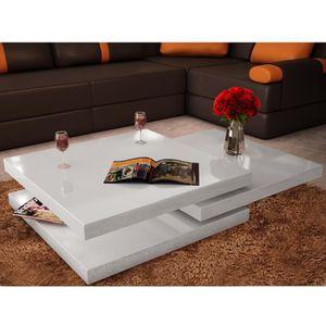 TABLE BASSE Table basse blanc laqué carrée pivotante 3 plateau