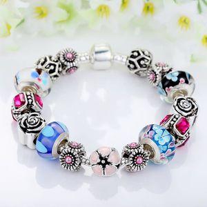 BRACELET - GOURMETTE 18cm Bracelet Charms Pandora Style Plaque Argent 9