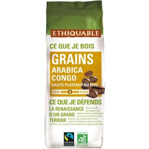 CAFÉ - CHICORÉE ETHIQUABLE Café Congo en grains Bio - 250 g - 100%