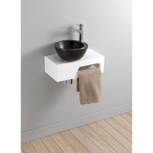 LAVABO - VASQUE Lave-mains complet en céramique noir sur console g