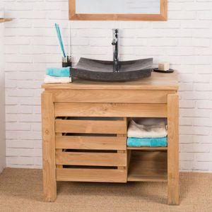 meuble vasque plan meuble de salle de bain en teck zen 85cm