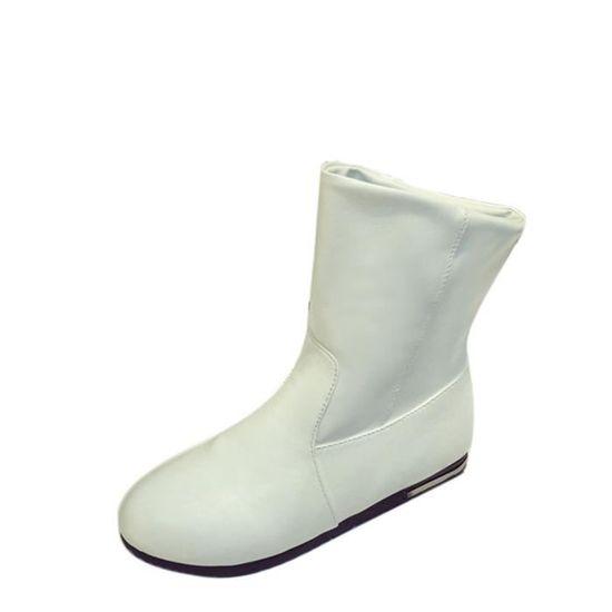 Femmes Chaussures Hiver mollet Bottes automne Appartements Mi Mi Neige Pachasky®mode Talons blanc wtfqC4TTx