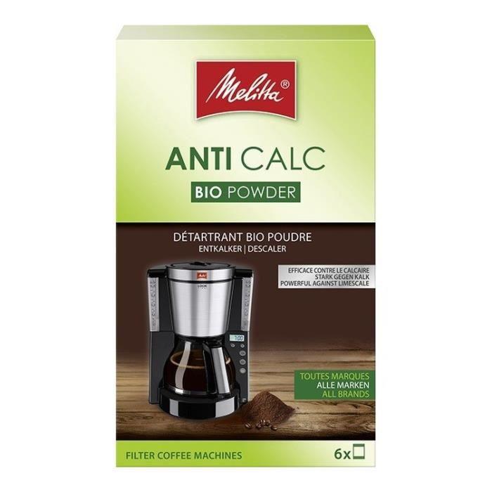 MELITTA Détartrant Bio en poudre pour cafetière filtre - 6 x 20 g