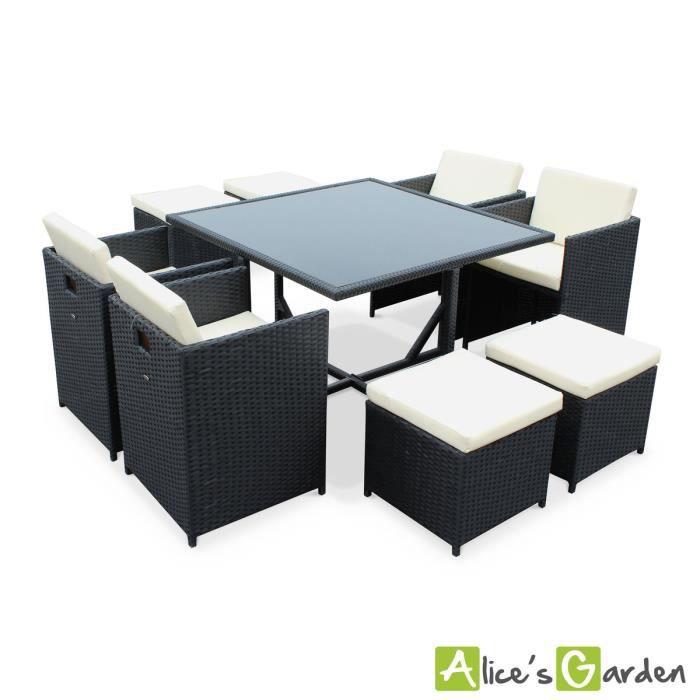 Salon de jardin Vasto Noir table en résine tressée 4 à 8 places, fauteuils  encastrables.