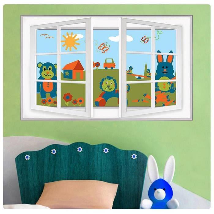 Animals On Field For Kids Fake 3D Window IMPRIMER Sur CANVAS (Synthétique, non encadré non monté) 94x61cm Peinture à l'huile