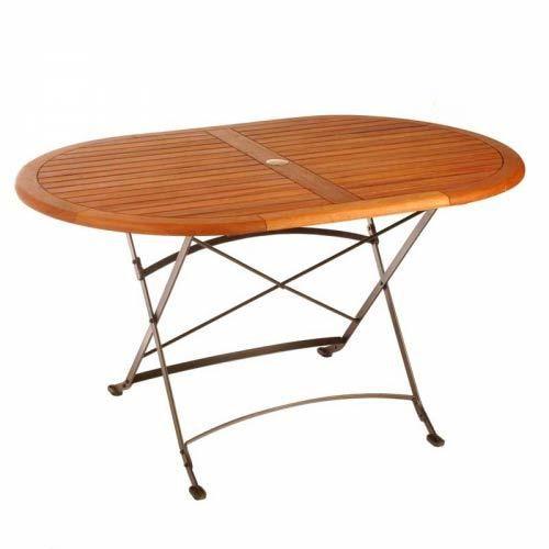 Table ovale eucalyptus fer forgé MEDICIS - Achat / Vente ...