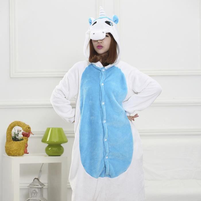 ed20cea21486d Pyjama Combinaison en Flanelle Chaud d'Hiver adultes unisexe (Licorne)