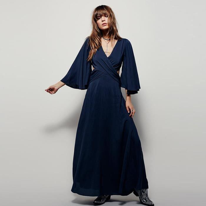 couleur pure mince backless robe femme avec man...