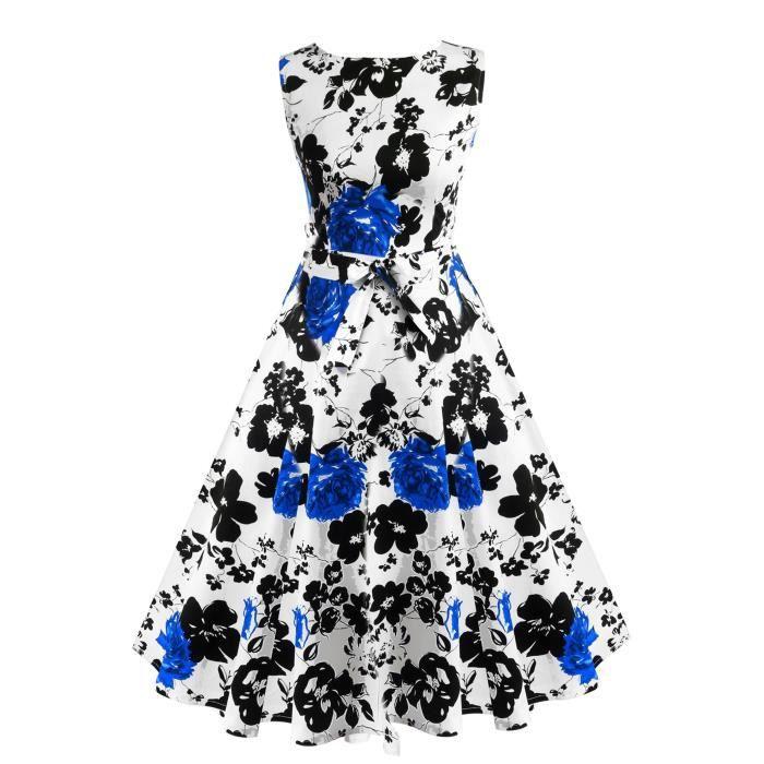 Robe de Soirée Sans Manches Floral Imprimé Mi-mollet Cocktail Mode de Femmes Lady Chic Casual Party Des