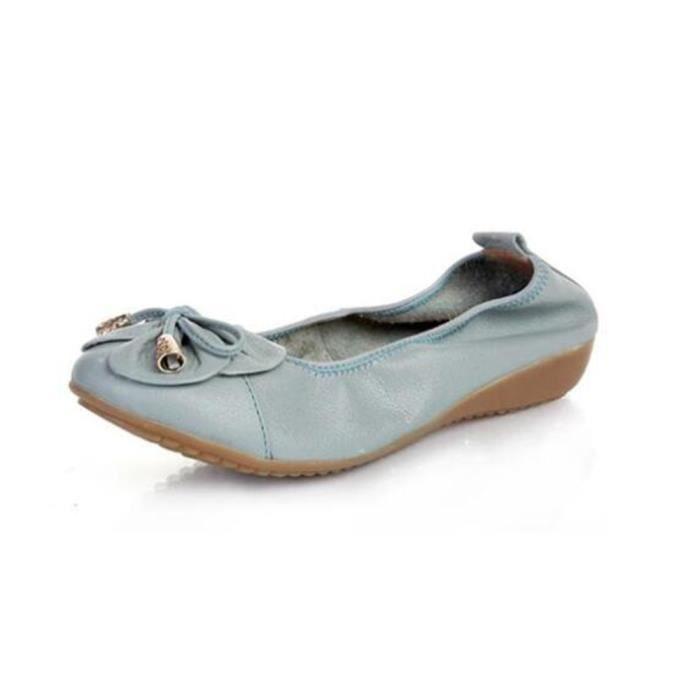 Chaussure femmes en cuir 2017 nouvelle marque de luxe Moccasin Respirant Bowknot plates Haut qualité Grande Taille 35