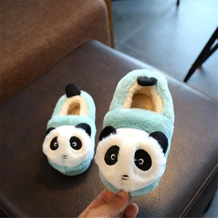 Panda Chaussons Nouvelle Plus De Cachemire Enfant Hiver Chausson super Mode Garde Au Chaud Confortable Doux Beau Vert 22