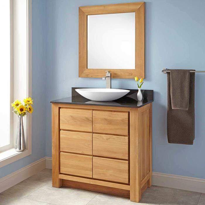 Meuble de salle de bain en teck massif et granit 90 cm for Caisson sous vasque salle de bain